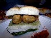 Chopra's favourite snack - vada pal - bread roll, chutney and potatoey fried