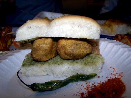Chopra's favourite snack - vada pal - bread roll, chutney and potatoey fried